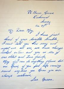 Letter of condolence.