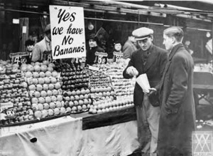 Wartime greengrocer bananas