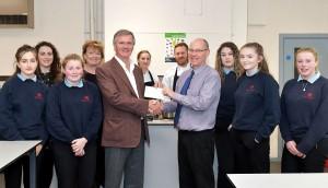 cheque presentation Ysgol y Berwyn