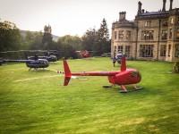 Helicopter landing Palé Hall Hotel north Wales