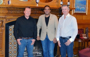 Owain Williams, of Williams Homes, chef Michael Caines, Alan Harper, owner of Palé Hall.