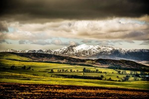 Snowdonia snow capped mountains.