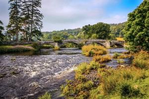 River Dee bridge Llandderfel Wales