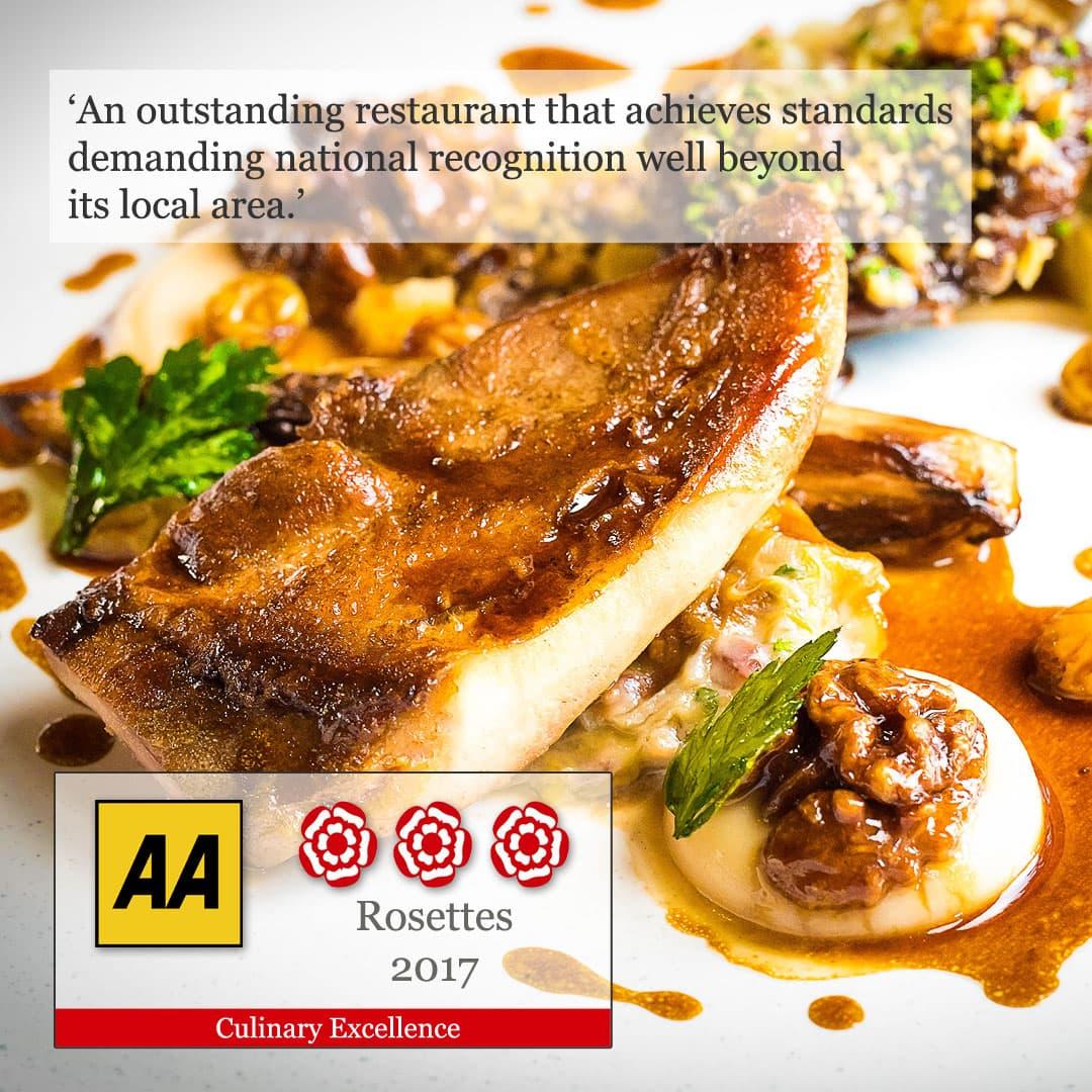AA 3 rosette award restaurant Wales