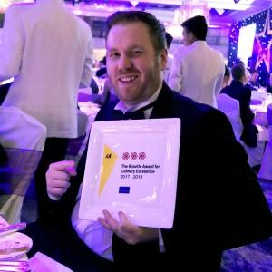 Chef Gareth Stevenson AA award