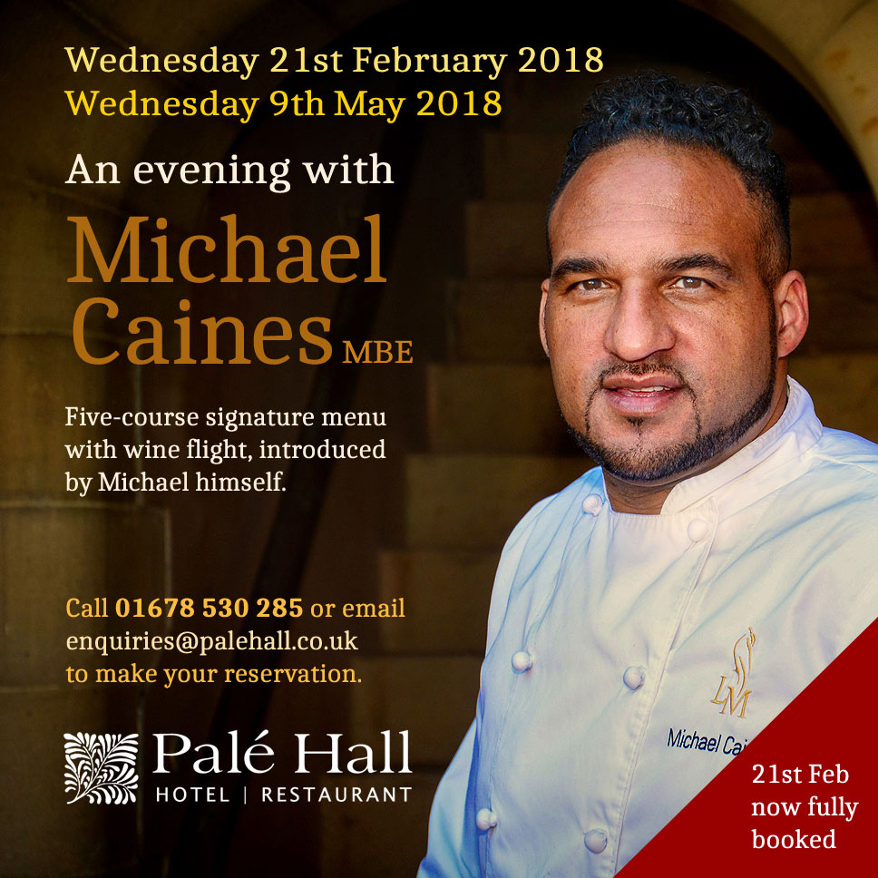 Evening with chef Michael Caines at Palé Hall Hotel.